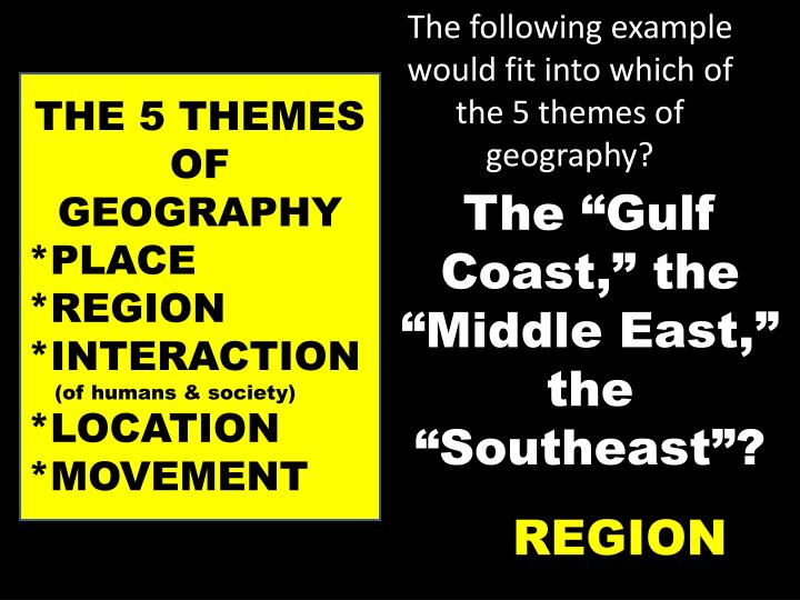 The following example would fit into which of the 5 themes of geography?