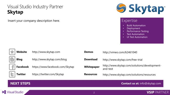 Visual studio industry partner skytap