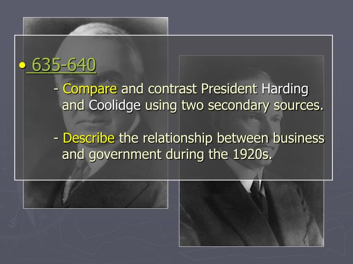 compare the presidential leadership of harding coolidge and hoover