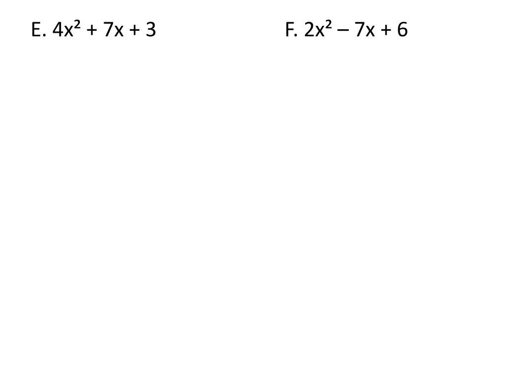 PPT - 4.4 Factoring Quadratic Expressions 4.5 Quadratic