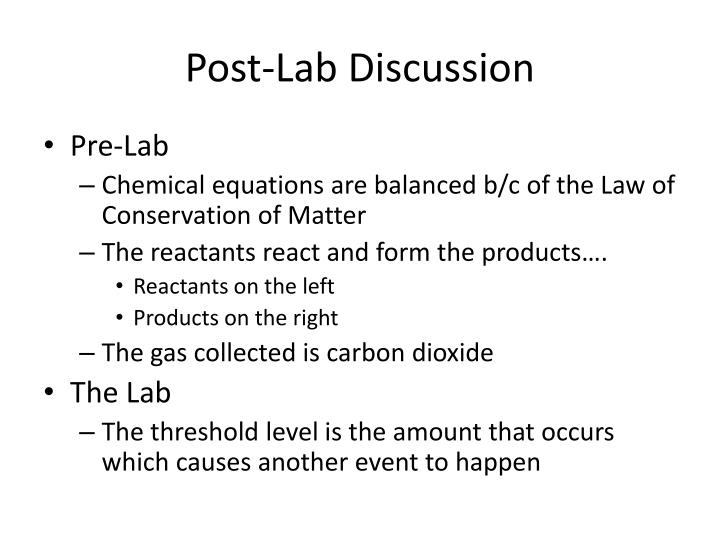Post lab discussion