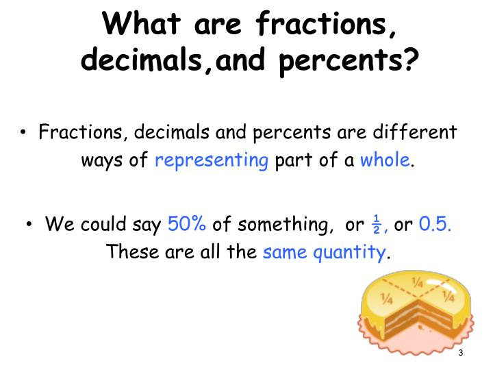 What are fractions decimals and percents