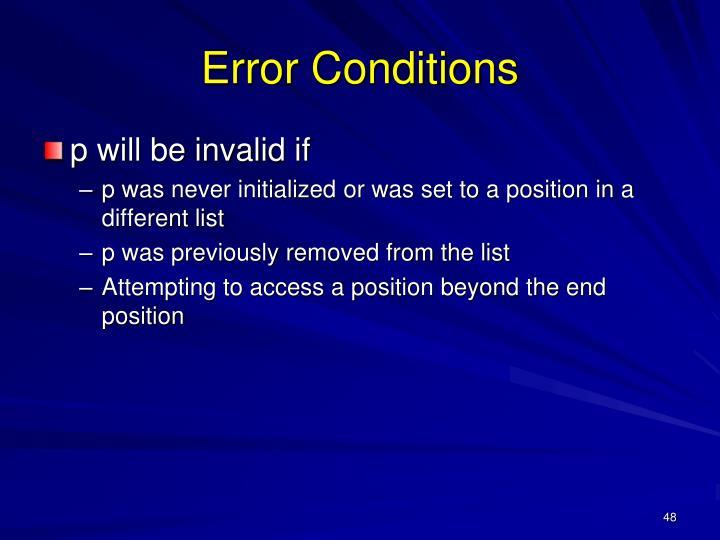 Error Conditions