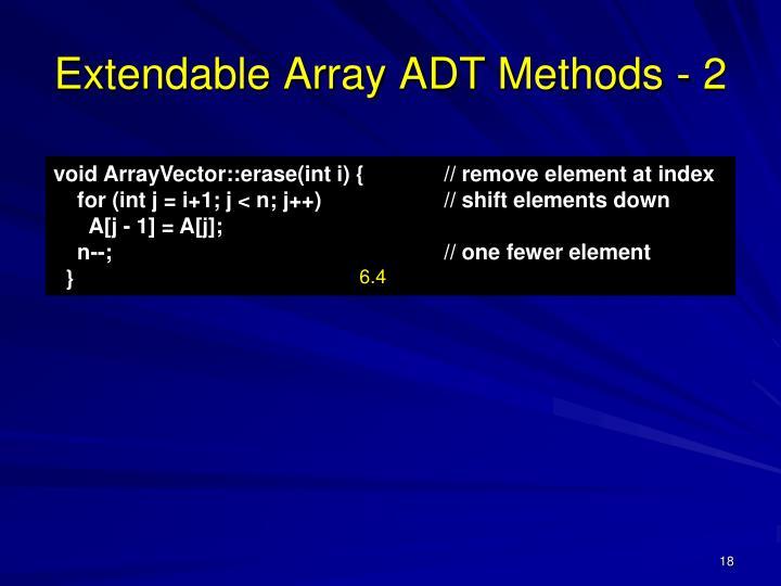 Extendable Array ADT Methods - 2