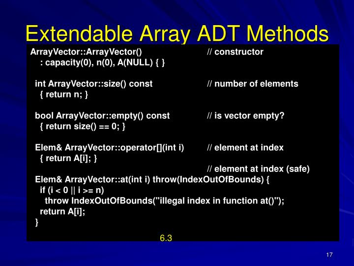 Extendable Array ADT Methods