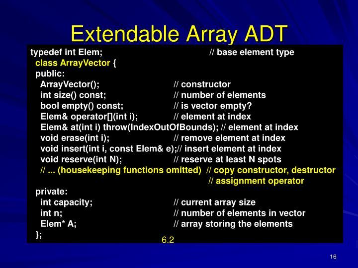 Extendable Array ADT