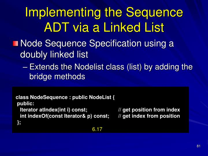 Implementing the Sequence ADT via a Linked List