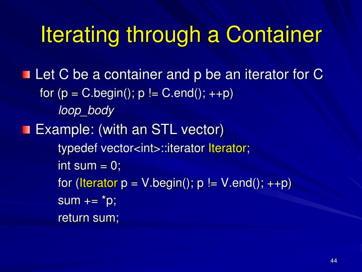 Iterating through a Container