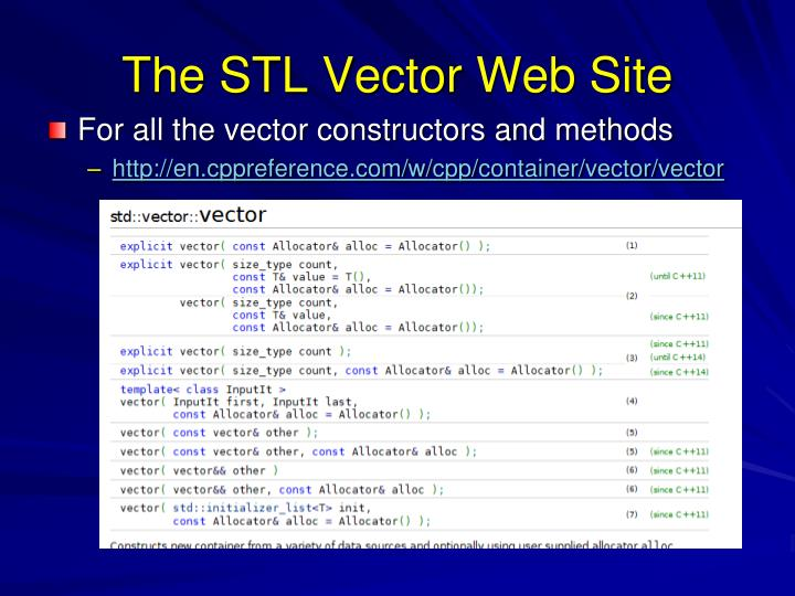 The STL Vector Web Site
