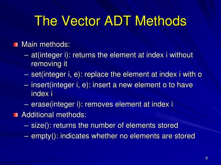 The Vector ADT Methods