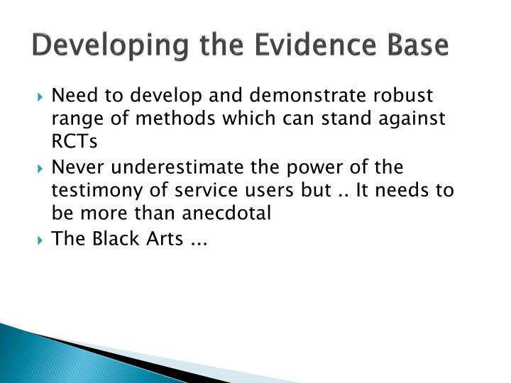 Developing the Evidence Base