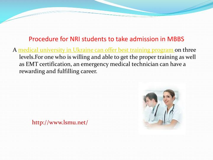 procedure for nri students to take admission in mbbs n.