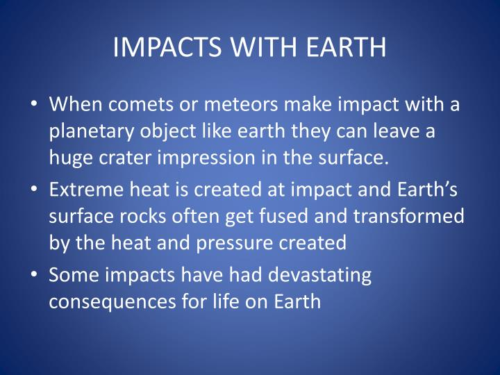IMPACTS WITH EARTH