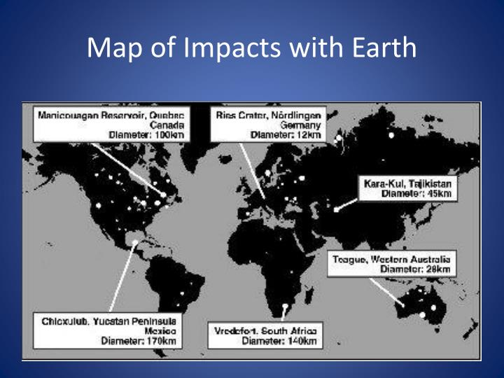 Map of Impacts with Earth