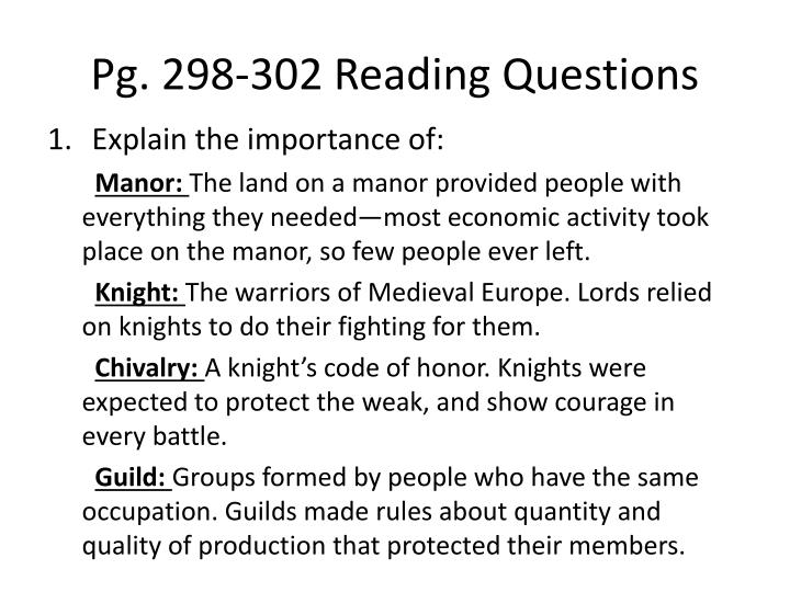 Pg. 298-302 Reading Questions