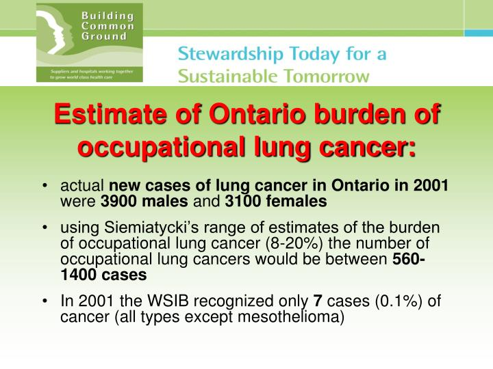 Estimate of Ontario burden of occupational lung cancer: