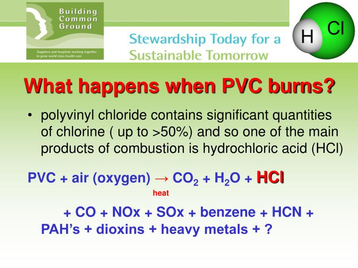 What happens when PVC burns?