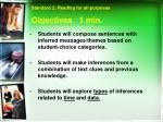 objectives 1 min