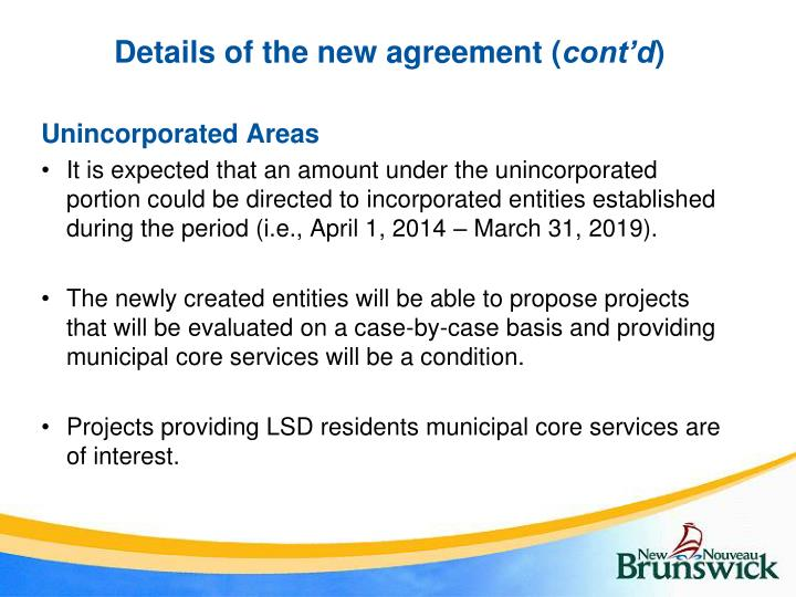 Details of the new agreement (