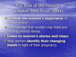 the role of the midwife adapted from price 2004