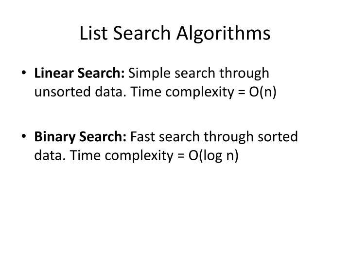 List Search Algorithms