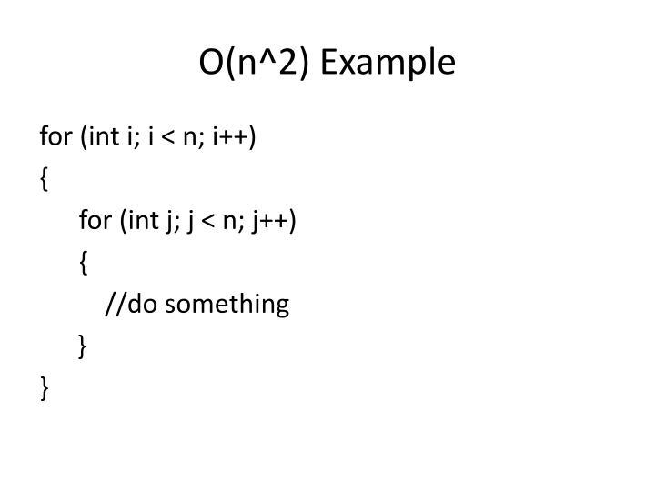O(n^2) Example