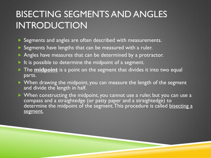 Bisecting Segments and Angles