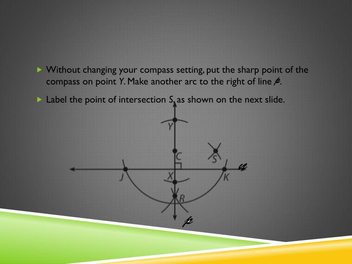 Without changing your compass setting, put the sharp point of the compass on point