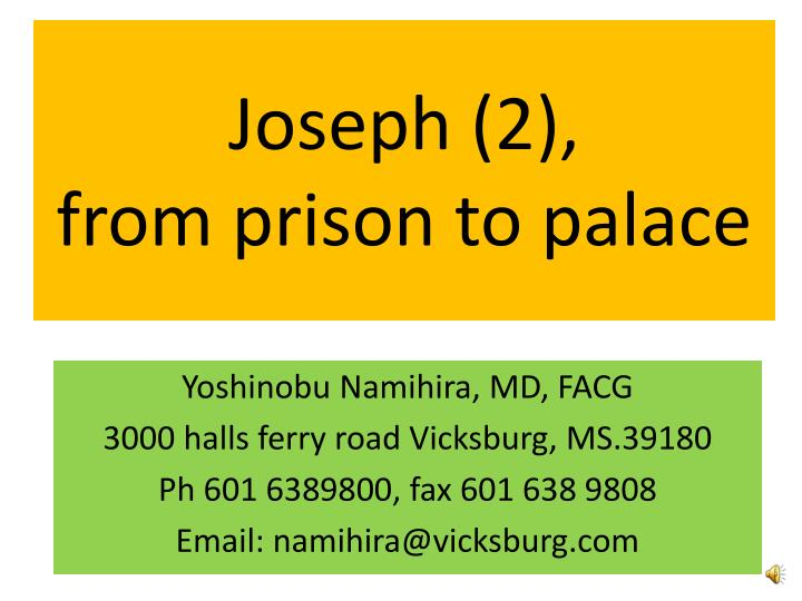 joseph 2 from prison to palace n.