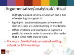argumentative analytical critical