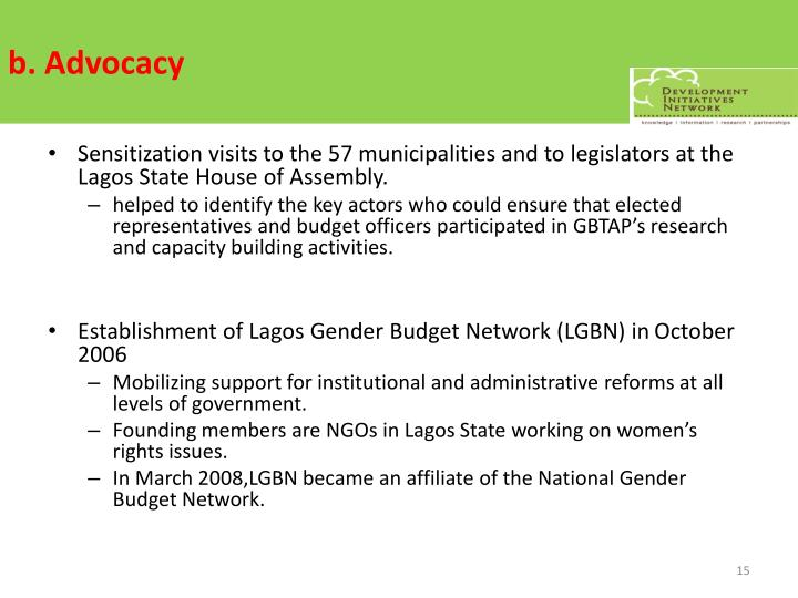 b. Advocacy