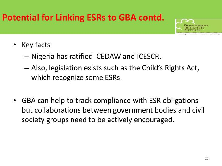 Potential for Linking ESRs to GBA contd.