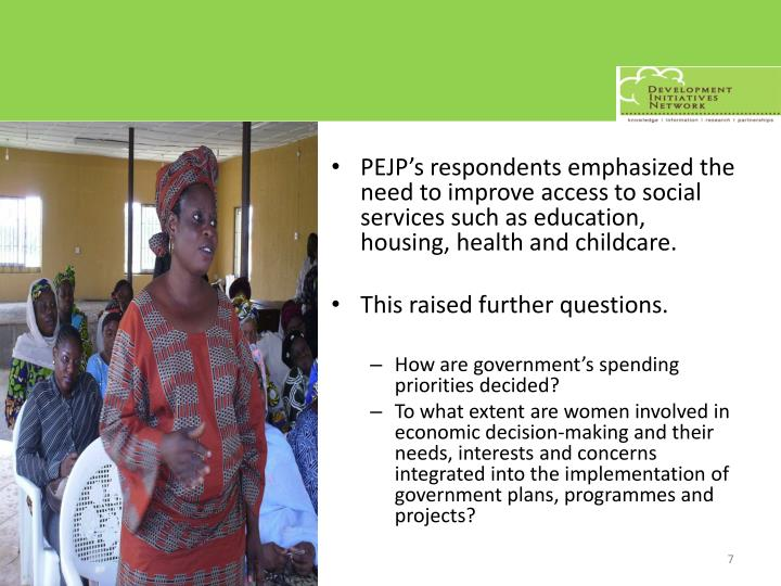PEJP's respondents emphasized the need to improve