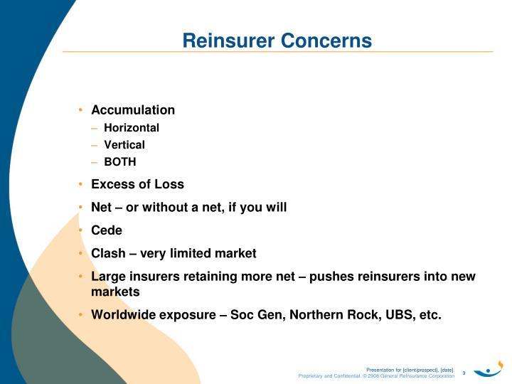 Reinsurer concerns