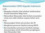 rekomendasi cerd kepada indonesia