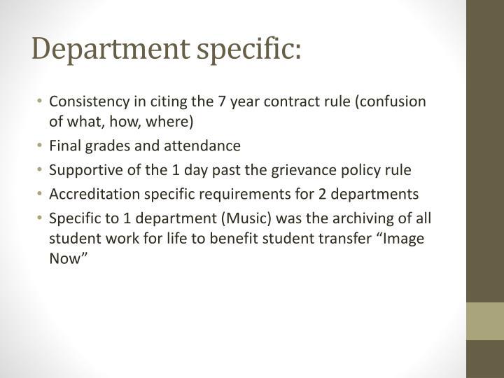 Department specific: