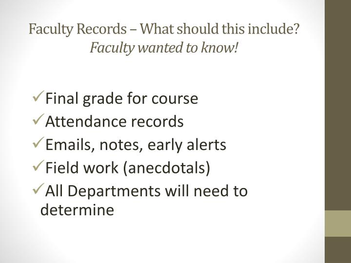Faculty Records – What should this include?