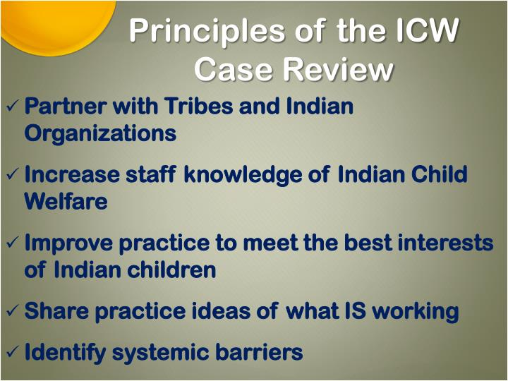 Principles of the ICW Case Review