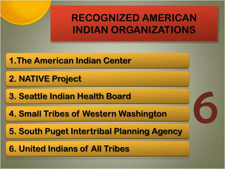 RECOGNIZED AMERICAN INDIAN ORGANIZATIONS