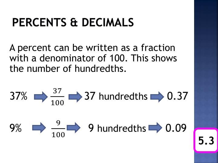 Percents & decimals