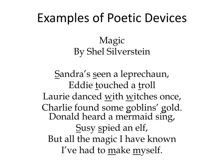 Poetic devices & examples.