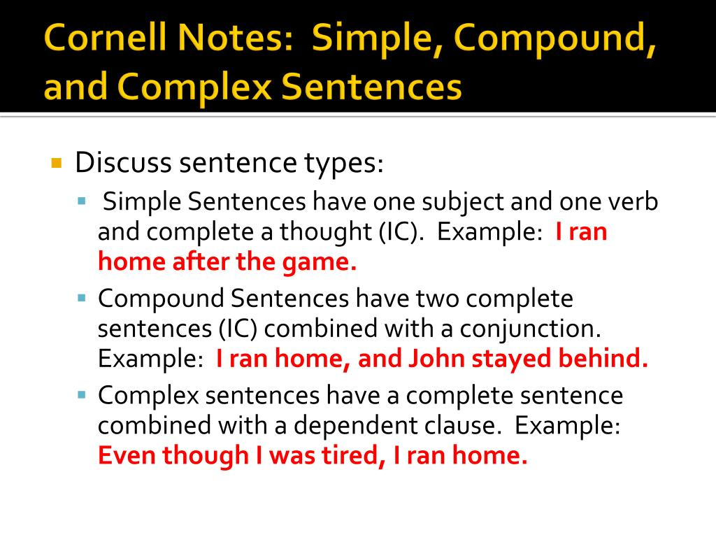 ppt cornell notes simple compound and complex sentences