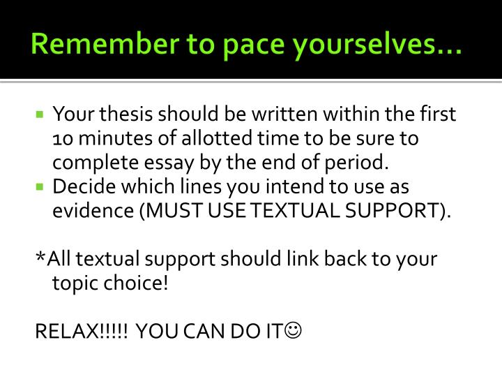 Remember to pace yourselves…