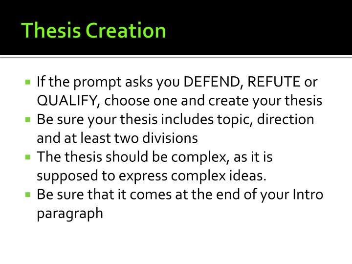Thesis creation