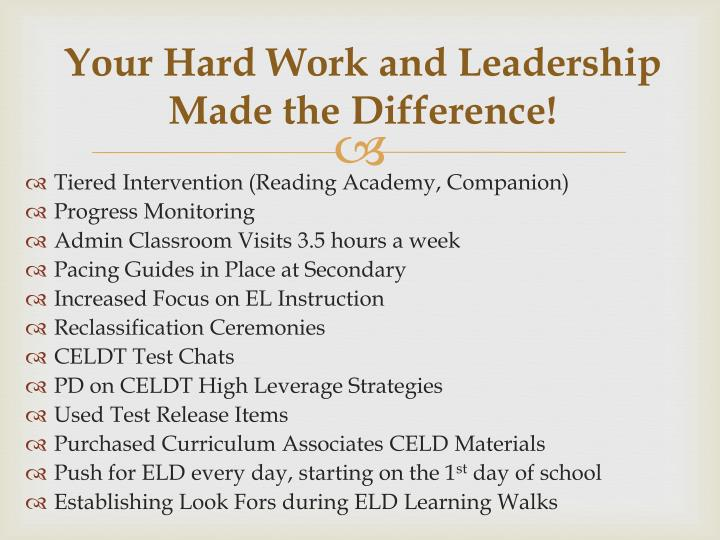 Your Hard Work and Leadership Made the Difference!
