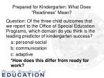 prepared for kindergarten what does readiness mean