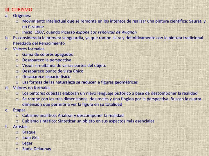 III. CUBISMO