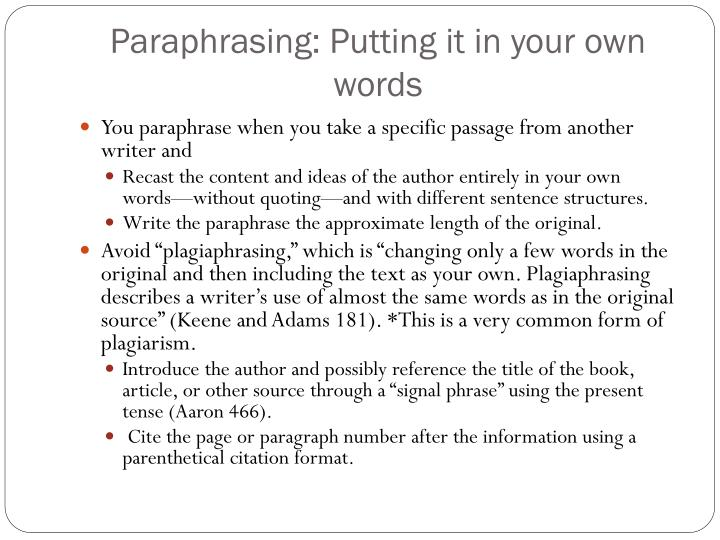 tips on quoting paraphrasing and summarising Summarizing what: when summarizing, you need to state the main ideas and/or broader themes from the writing in your own wordsyou may quote or paraphrase portions of the text when creating a summary.