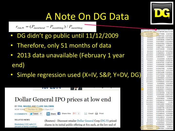 A Note On DG Data