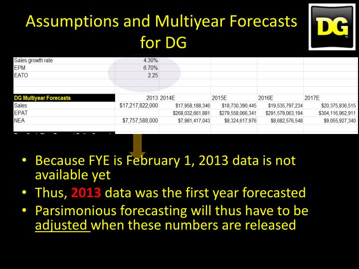 Assumptions and Multiyear Forecasts